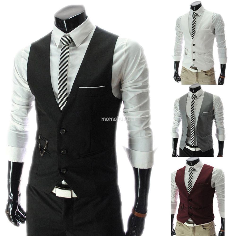 Fashion Men V-Neck Business Formal Dress Vest Top Suit Slim Fit Tuxedo Waistcoat