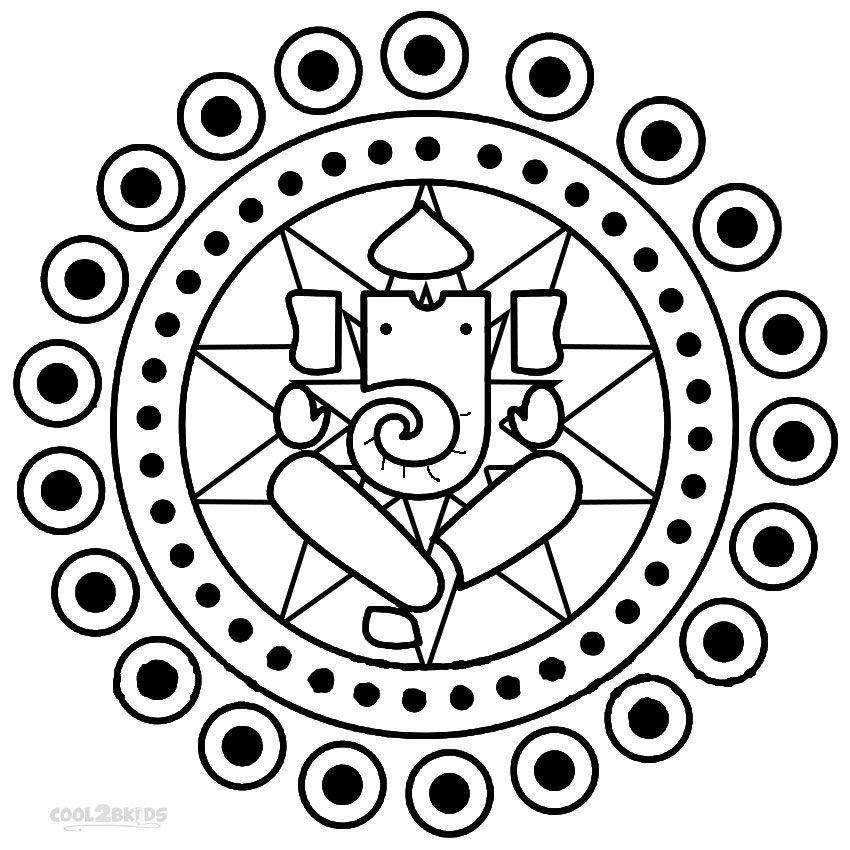 Printable Rangoli Coloring Pages For Kids | Cool2bKids | coloring ...