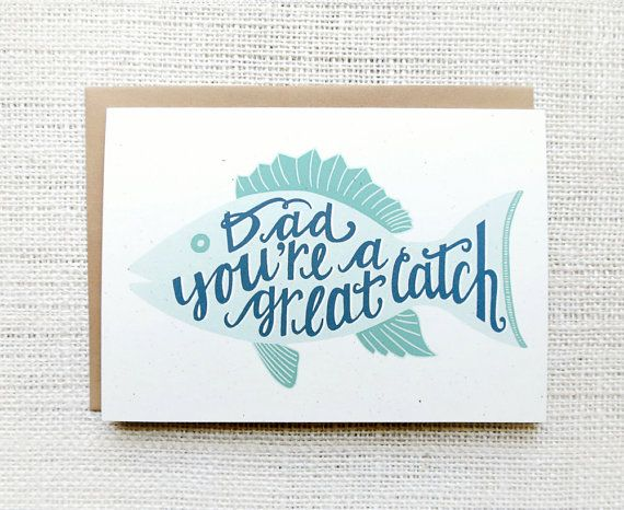 Dad You're a Great Catch - Fish Father's Day Card | Happy ...