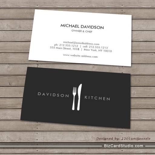 Fork Knife Logo 2 For Chef Foodie Restaurant Business Card