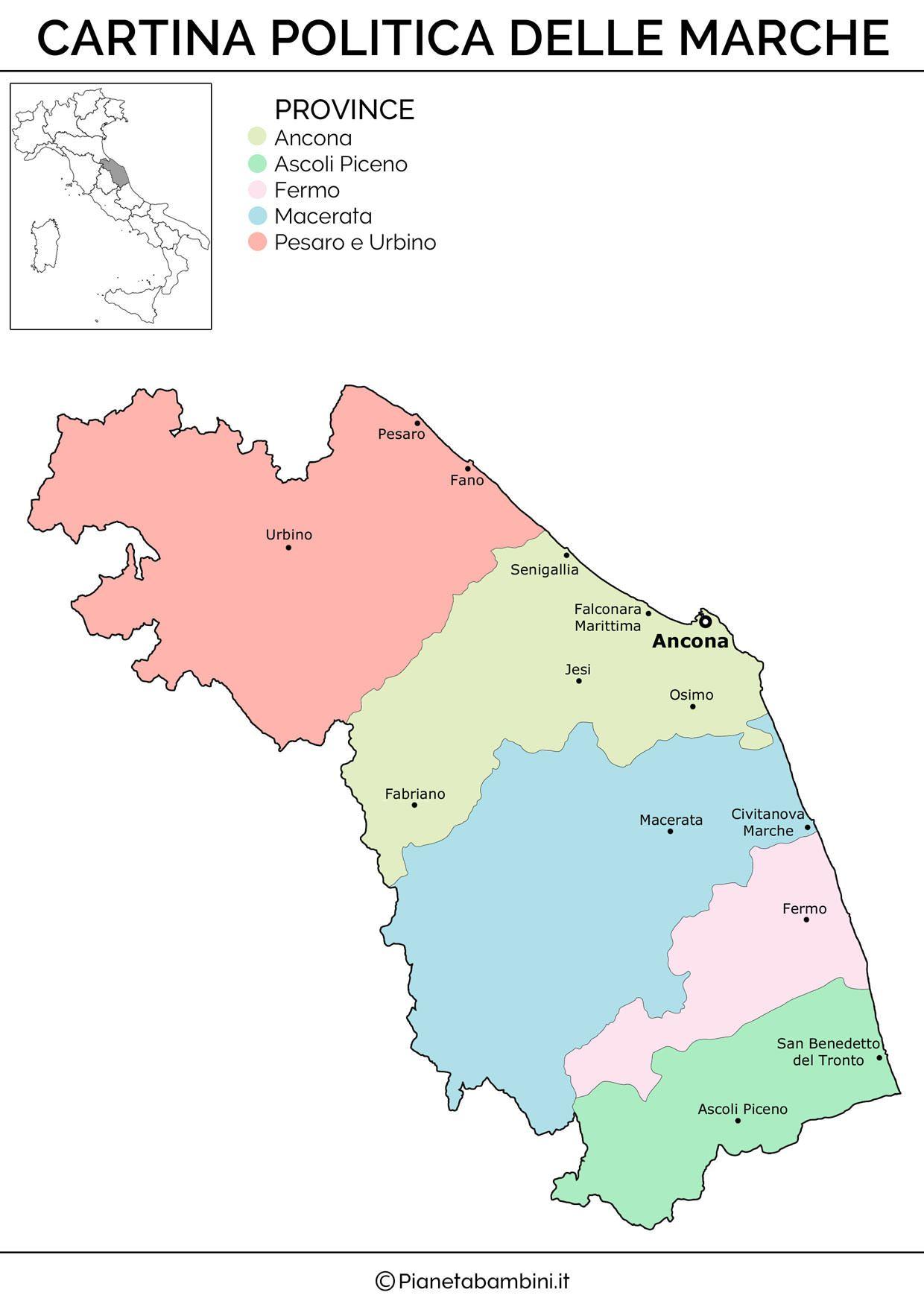 Cartina Muta Fisica E Politica Delle Marche Da Stampare Mappe