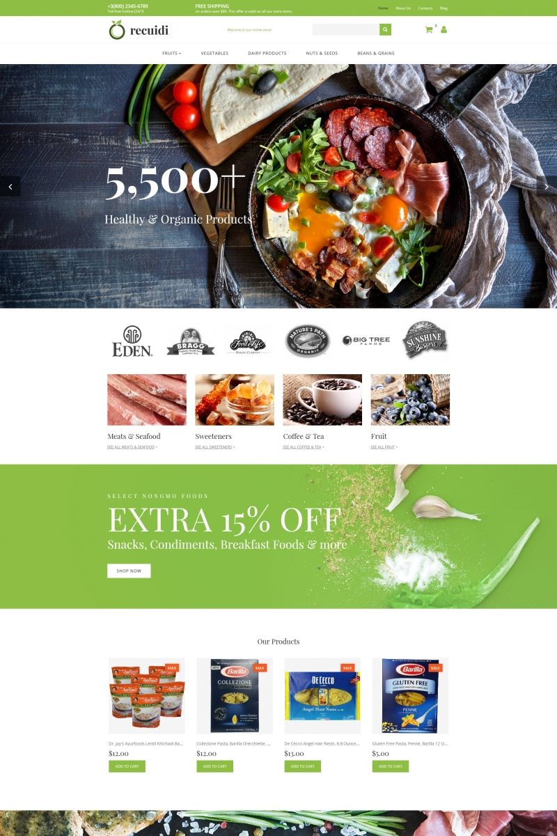 grocery store responsive motocms ecommerce template web design