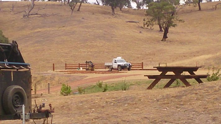 Rural timber post and rail fence