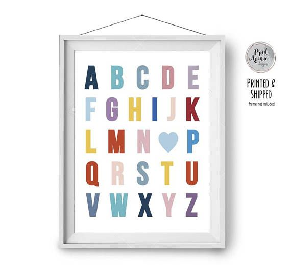 Alphabet Print Colorful Nursery Print Blue Yellow Red Pink Print