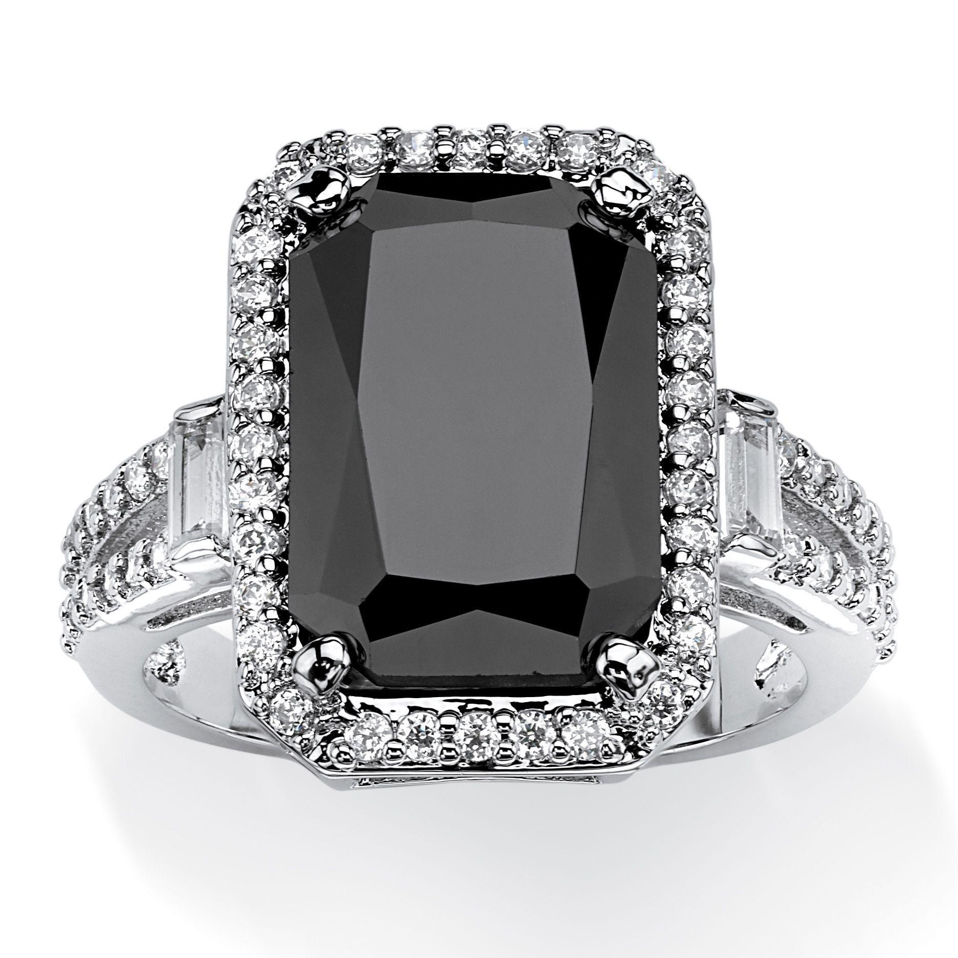 Platinumplated Black Cubic Zirconia Ring White Black