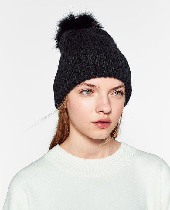 19db7318 Image 4 of RIB KNIT HAT WITH POM-POM from Zara | Wish List | Knitted ...