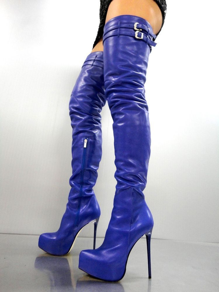 CQ COUTURE PLATFORM CUSTOM OVERKNEE BOOTS STIEFEL STIVALI LEATHER BLUE BLU 43