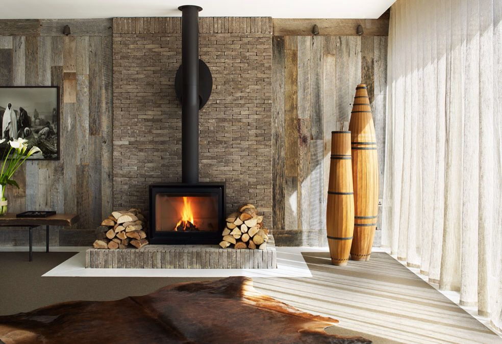 Rustic Textures Modern Style Around This Fireplace Barnboard Brick Fireplace Wood Burning Fireplace Wood Stove Fireplace