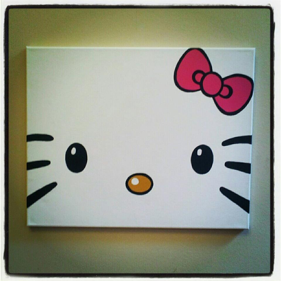 Diy Hello Kitty Canvas Painting Diy Hello Kitty Hello Kitty Bedroom Hello Kitty Crafts