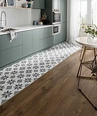 Kitchens With Wood And Tile Floors Google Search In 2020 Wood Effect Tiles Wood Floor Kitchen Underfloor Heating