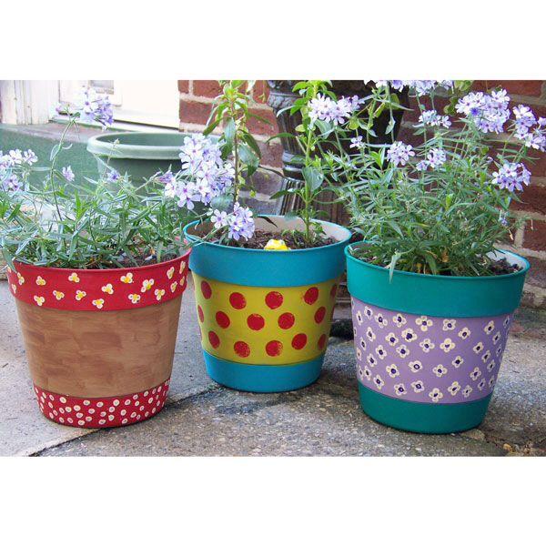 hand painted pots pots de jardin garden pots. Black Bedroom Furniture Sets. Home Design Ideas