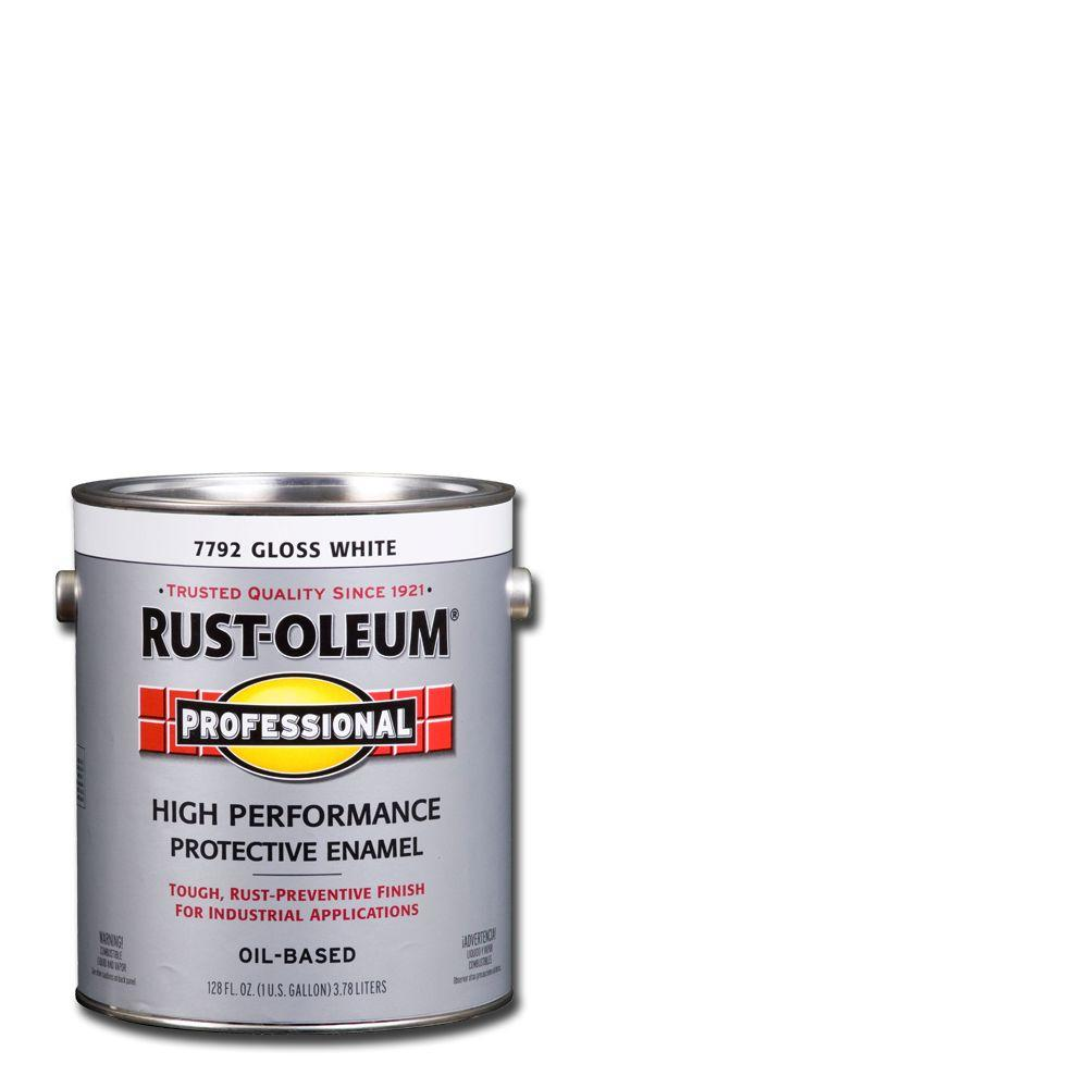 Rust Oleum Professional 1 Gal High Performance Protective Enamel Gloss White Oil Based Interior Exterior Industrial Paint 2 Pack 7792402 The Home Depot Rustoleum How To Clean Metal Exterior Paint