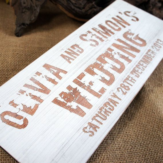 Distressed Wooden Wedding Sign With Engraved Artwork By Camdeco
