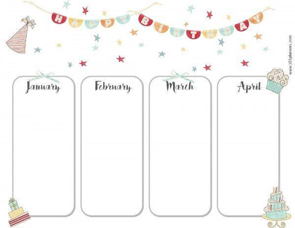 Calendário de aniversário para janeiro, fevereiro, março e abril - sample birthday calendar
