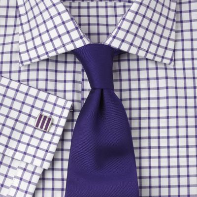 Purple Check Fully Fitted Shirt - 43259  This fully fitted John Francomb Classic has a semi-cutaway collar and double (French) cuffs. An Easy to Iron finish makes it easier to care for.