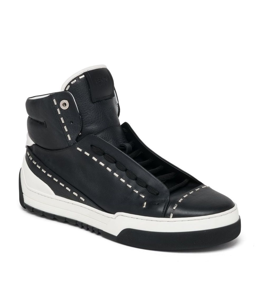 9792eff2cd Fendi Metal Stitch High-Top Sneakers Black $149.00 | men shoes ...