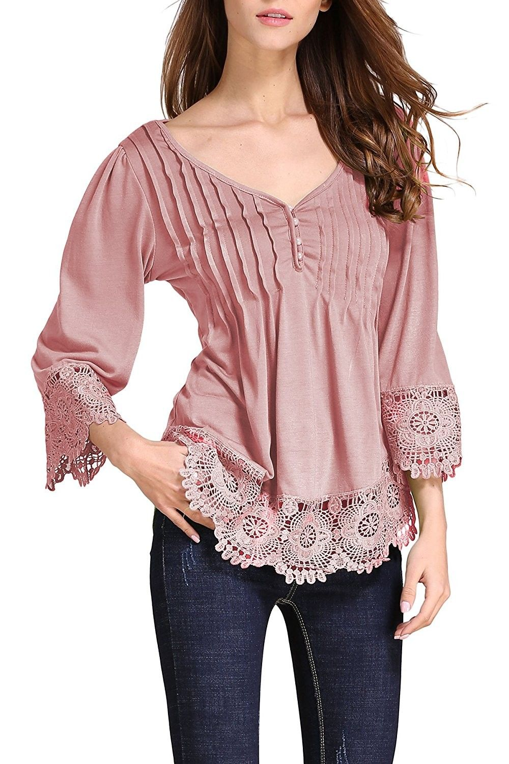 39dca3281a4856 Women's Flare Sleeve Lace Splice Loose Trim Casual Blouse T-Shirt Tops -  Pink - C1185S5CDTM,Women's Clothing, Tops & Tees, Tunics #women #fashion  #style ...