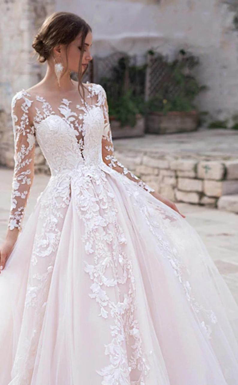 Long Sleeve Princess Wedding Dress Etsy In 2020 Pink Wedding Dresses Etsy Wedding Dress Long Sleeve Princess Wedding Dresses