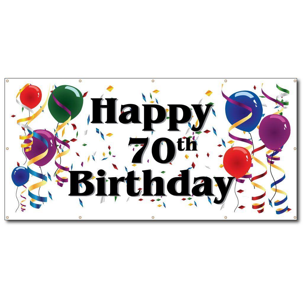 happy 70th birthday  3' x 6' vinyl banner  happy birthday