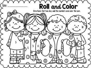 Roll And Color 100th Day Freebie 100 Days Of School School Coloring Pages 100s Day