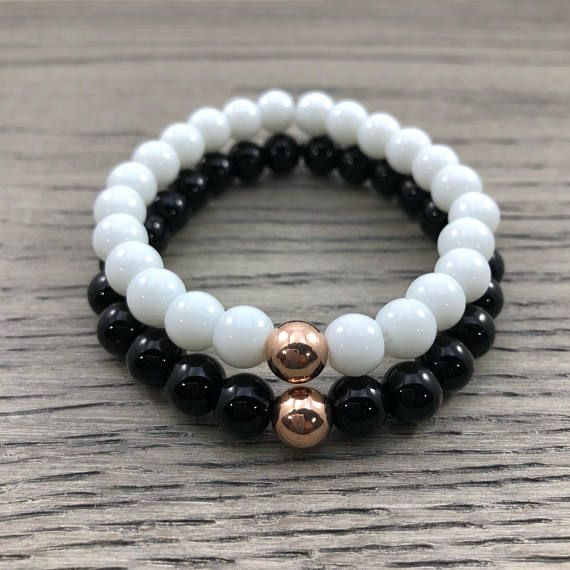 3513b619f0 Rose Gold Couples Bracelets. Long Distance Bracelets. Friendship Bracelets.  Black and White Couples Bracelets with 14K Rose Gold.