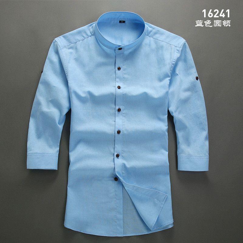 e25ecaa420e Men White Linen Shirt Stand Collar Chinese Traditional Mandarin Collar  Cotton Dress