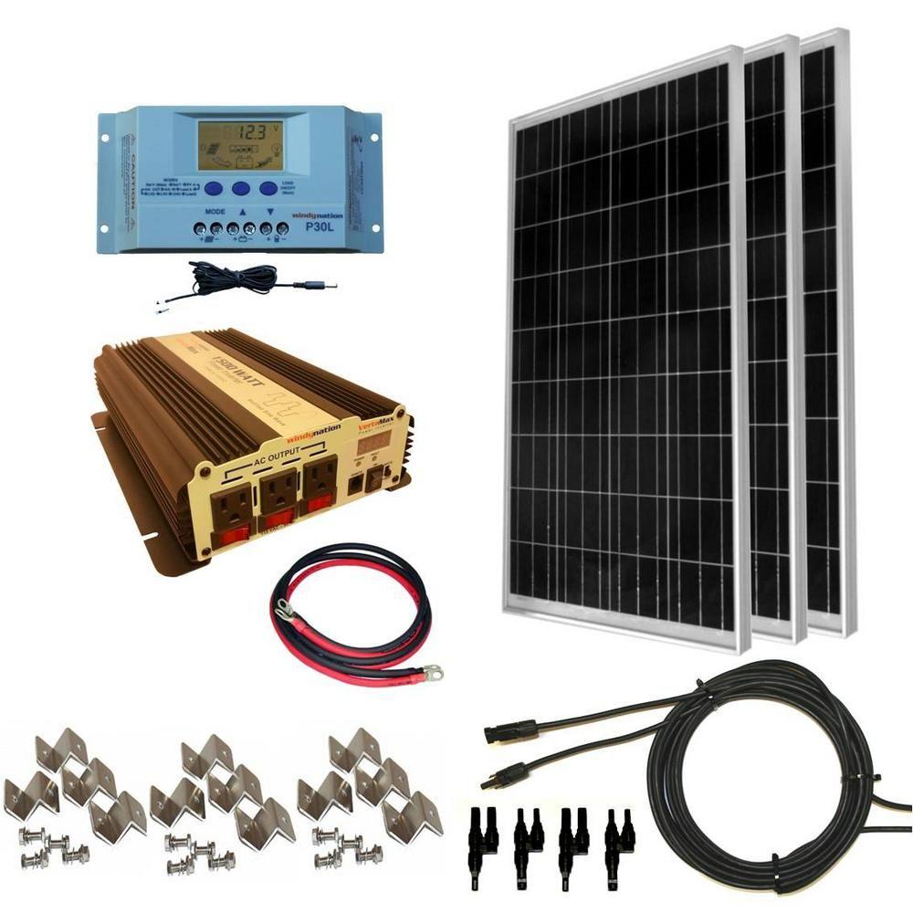 Windynation 300 Watt Off Grid Polycrystalline Solar Panel Kit With 1500 Watt Vertamax Power Inverter Solar Panel Kits Solar Panels Solar Energy Panels