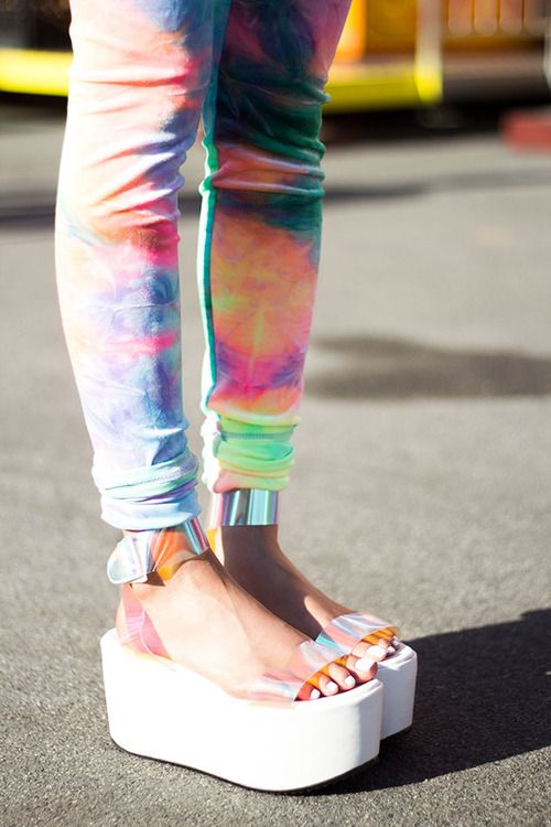 6fa8be204e16 fashion shoes street style platforms blogger leggings tie dye unif  holographic 90s style style2bones spacer platform sandal