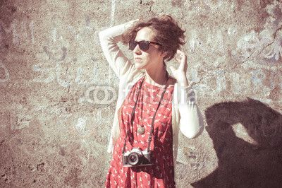 hipster vintage woman with old camera $1