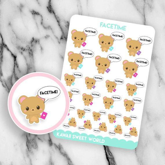 Kawaii Facetime Planner Sticker Sheet By Kawaiisweetworld On Etsy