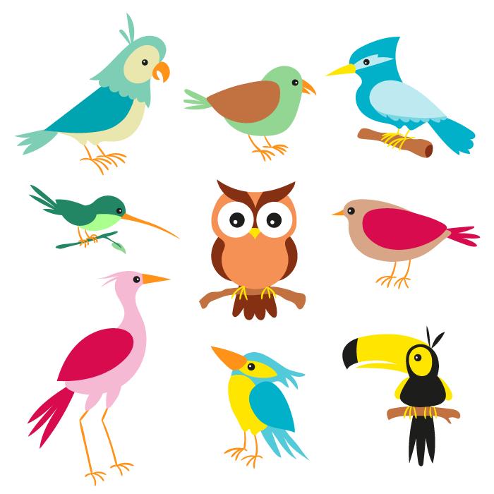 Aves Cartoon Simpaticas Vector En 2020 Dibujos De Pajaro Libre De Vectores Pajaros
