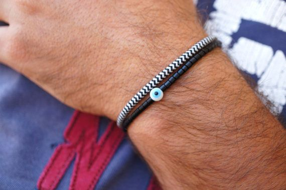 Evil Eye Bracelet Mens Black
