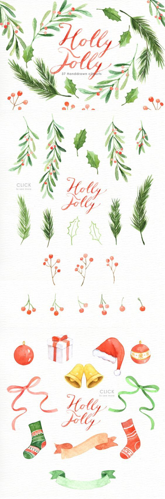 Photo of Hand Painted Watercolor Chirstmas Leaf and Elements. Included 3 beautiful wreath…