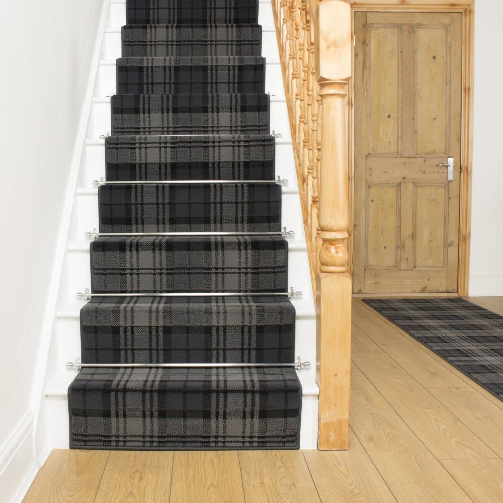 Best Tartan Black Stair Runner Carpet Stairs Hallway Carpet 400 x 300