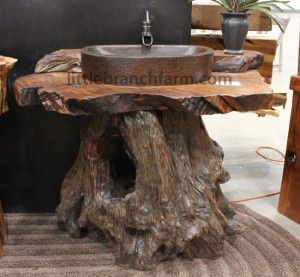 Rustic vanities crafted from recovered od growth redwood roots and