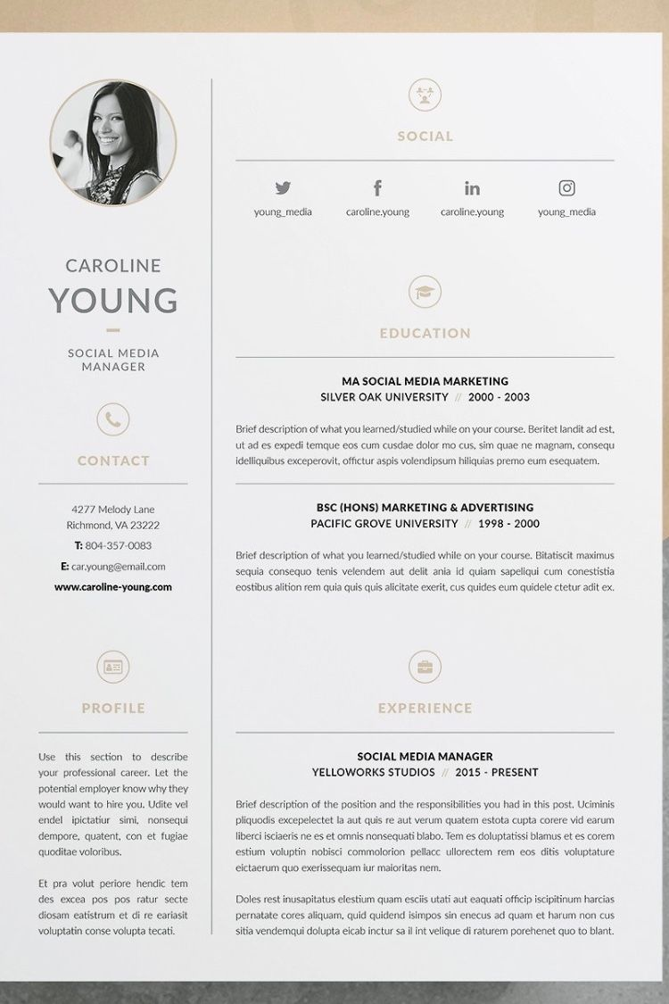 Professional Resume Template Cover Letter Icon Set For Microsoft Word 4 Page Pack Cv Instant Download The Fast Lane Modele De Cv Professionnel Cv Professionnel Modele Cv