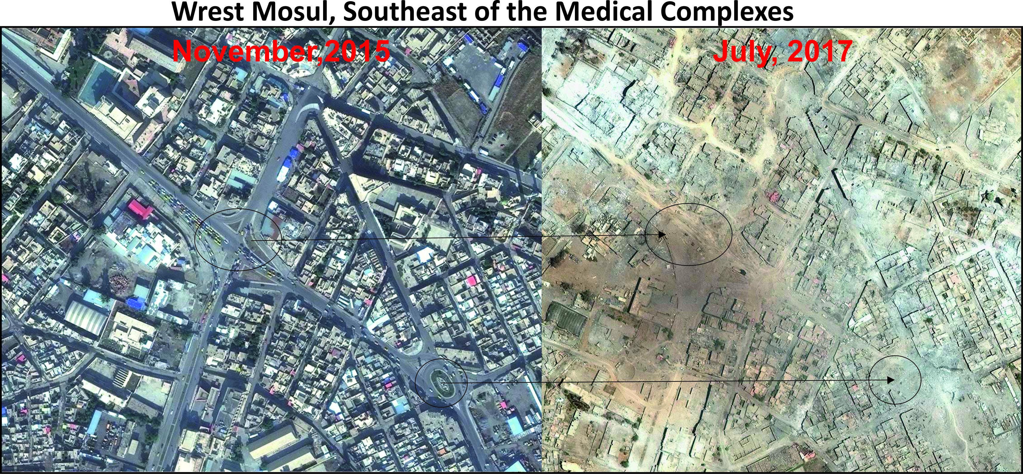 Satellite imagery of DigitalGlobe shows the destruction
