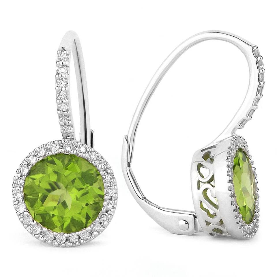 e00456ca33a649 14k white gold leverback earrings with peridot center and diamond halo, by Madison  L Designs. DVVS Fine Jewelry