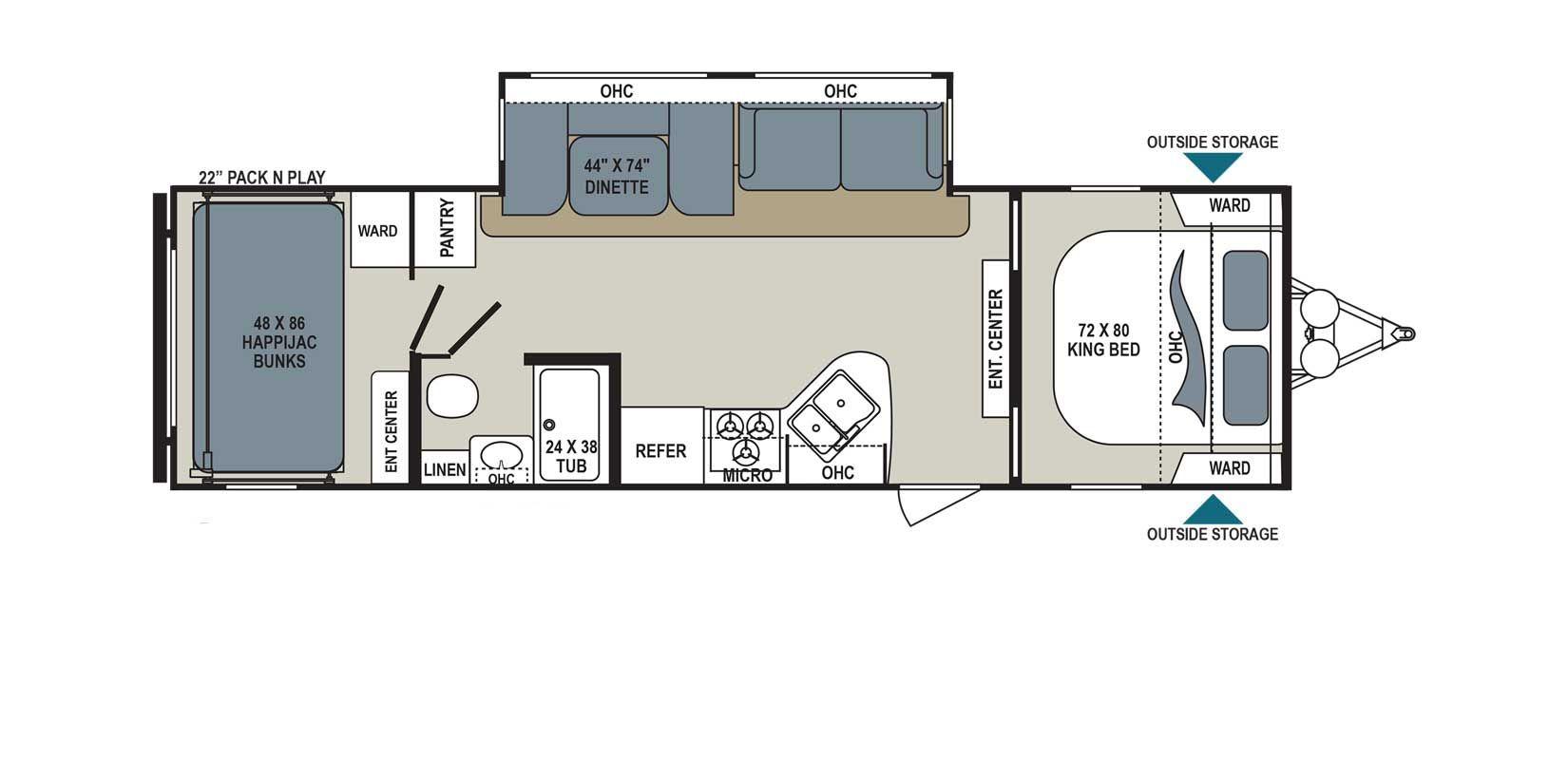 Aerolite 292DBHS Floorplan Details | RVs | Lightweight travel