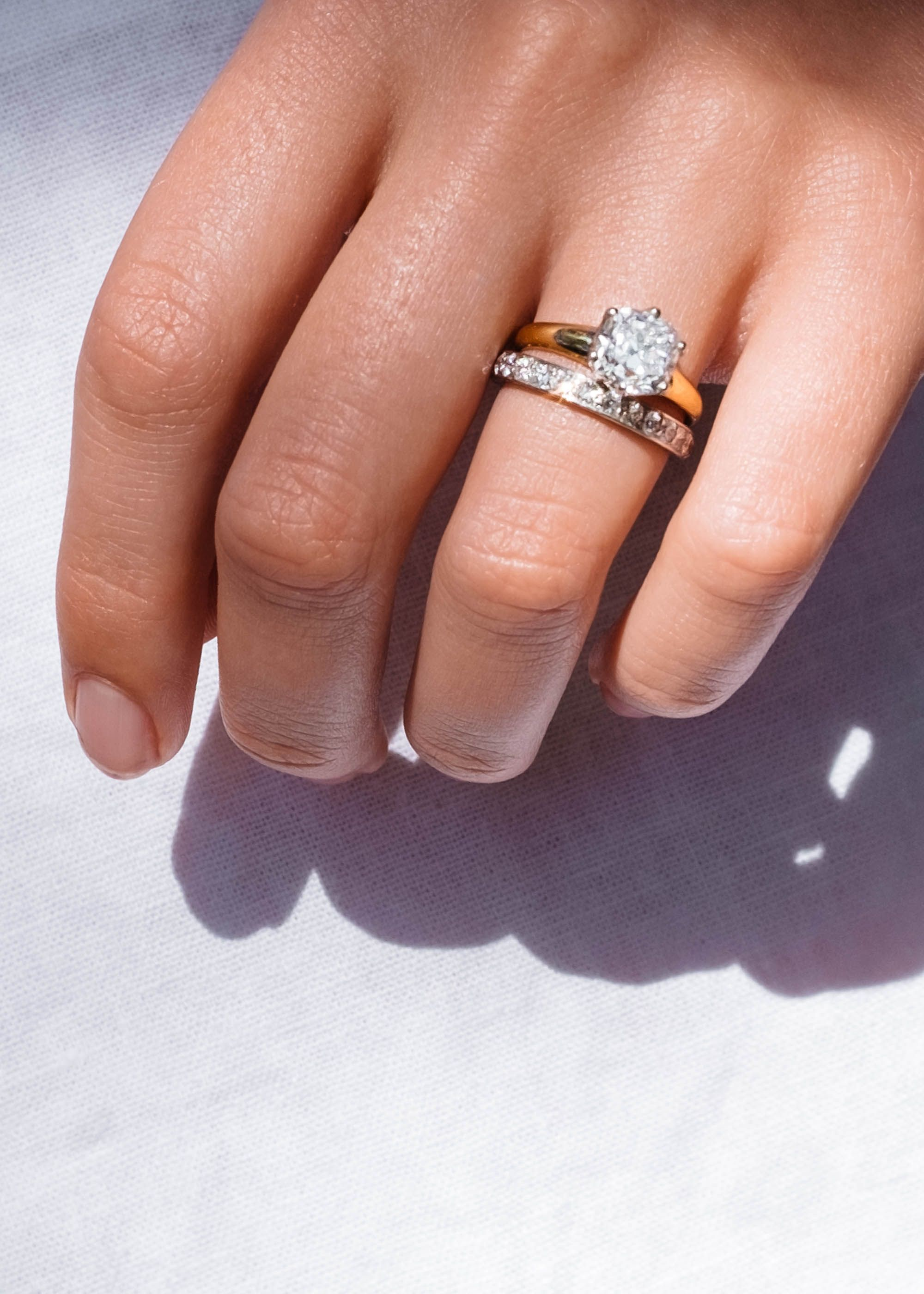 Perfect wedding set our Victorian diamond solitaire