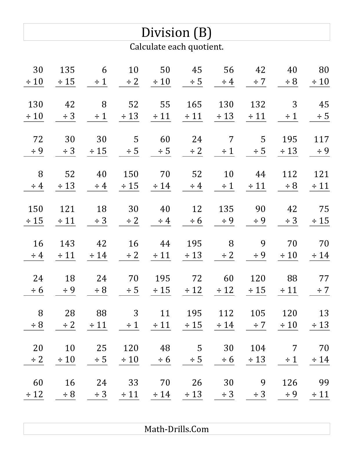 Rocket Math Division Worksheets Division Symbols Worksheet
