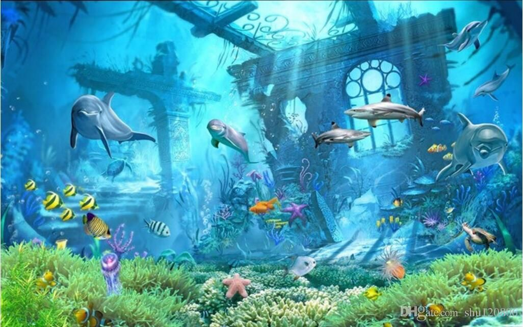 3d Room Wallpaper Custom Photo Mural Underwater World Dolphin Remains Home Decor Painting Picture 3d W Underwater Wallpaper 3d Wallpaper Landscape 3d Wallpaper