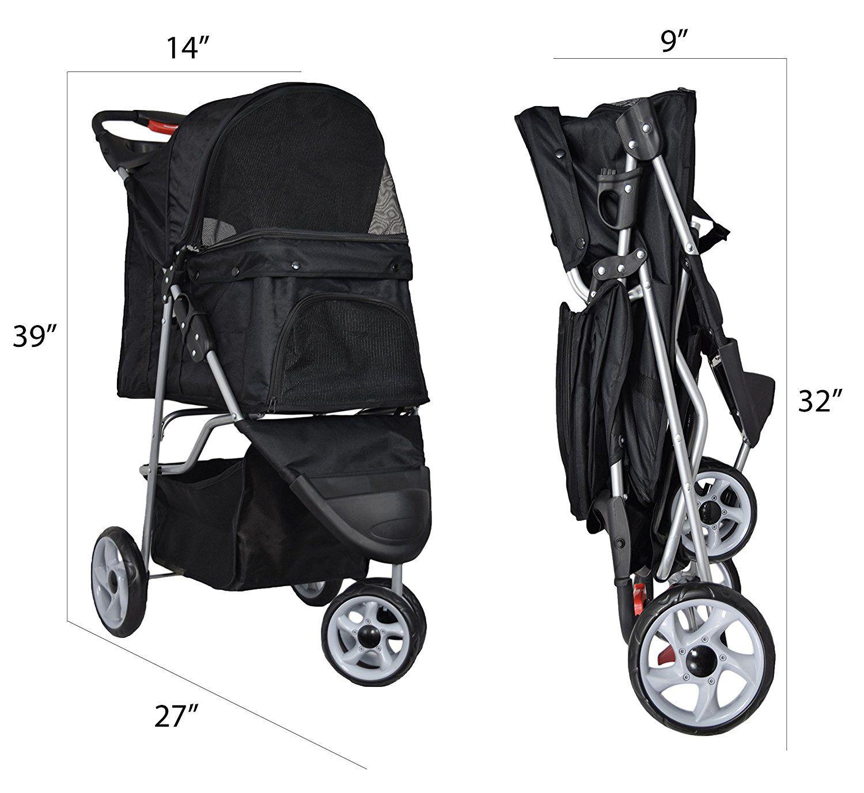 VIVO Three Wheel Pet Stroller, for Cat, Dog