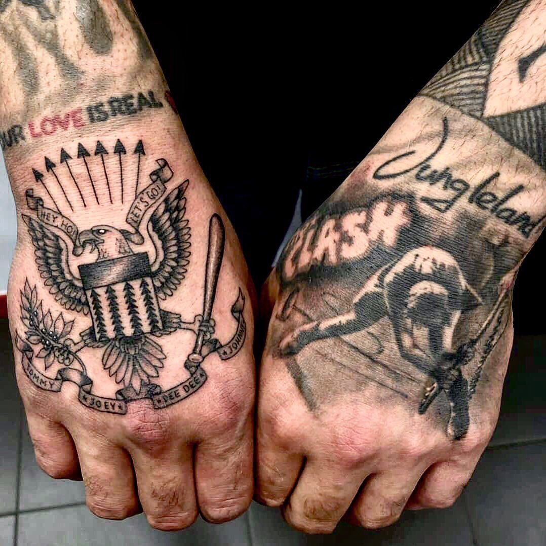 "23punk on Instagram: ""Ramones + The Clash 📷 @marco.gadda / @davide.jungleland #ramones #theclash #tattoo #tattoos #handtattoo #musictattoo #ramonestattoo #ink…"""