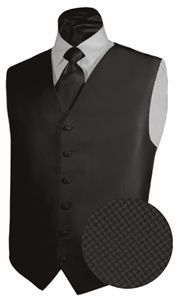 Tuxedo Vest BLACK Full Back GEO Vest and NECKTIE