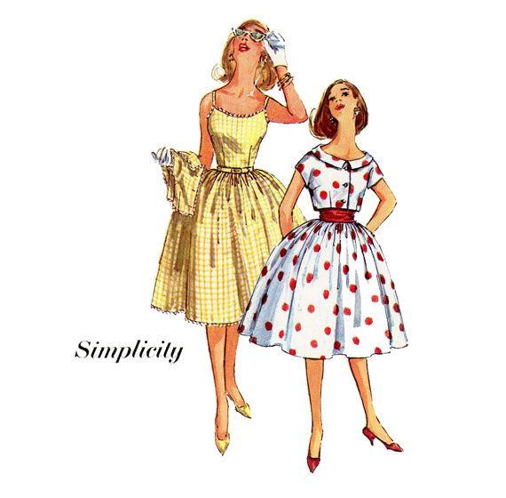 1960s Dress Pattern Simplicity 3471 Misses Full Skirt Sundress with ...