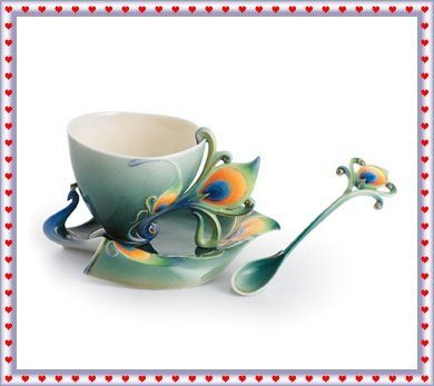 Franz Porcelain Peacock Luminescence Cup Saucer Spoon