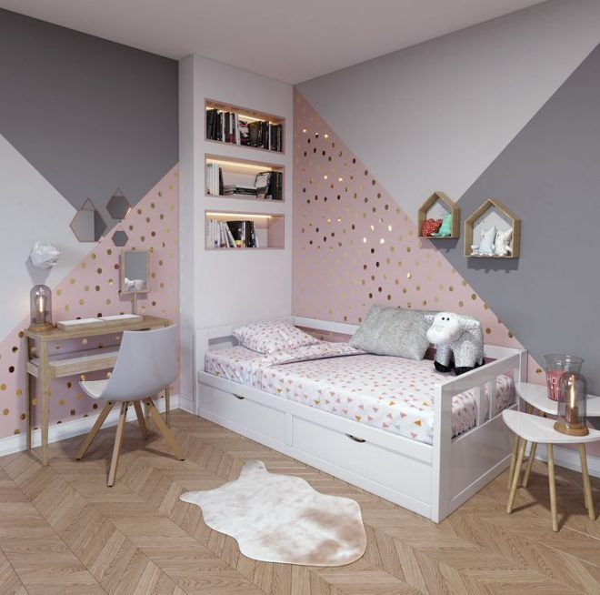 Zeitgenössisches Kinderzimmer aus rosa, weiß, beige Holz: Inspiration für den zeitgenössischen Stil – Künstler
