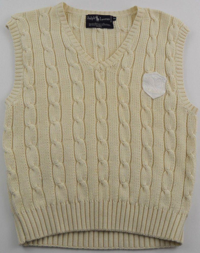 Ralph Lauren Cable Knit Sweater Vest Boys Size Medium M Polo Crest Patch Cream Ralphlauren Cable Knit Sweaters Sweater Vest Knitted Sweaters