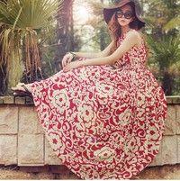Vintage Summer Bohemian Floral Sleeveless Chiffon Dress